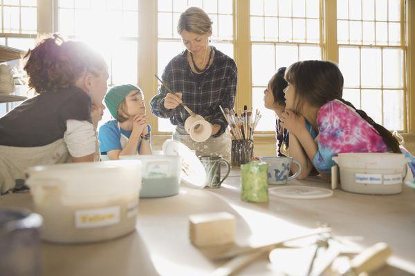 Pottery class observing glazing demonstration