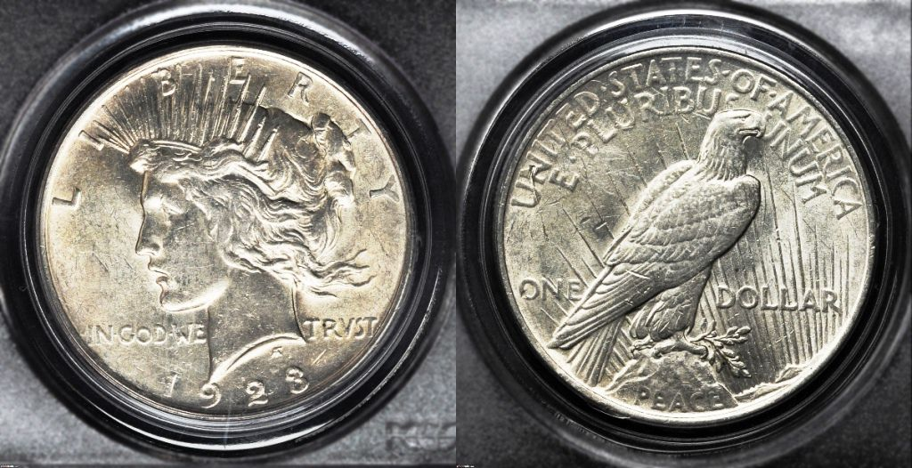 Example of a coin graded About Uncirculated-55 (AU55)