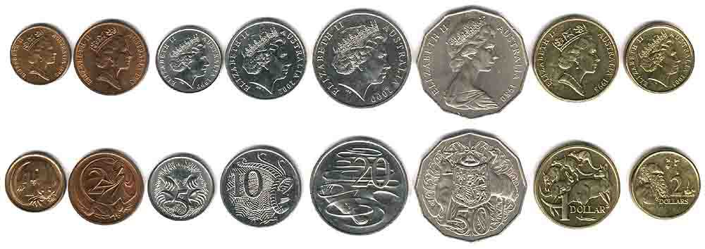 These coins are currently circulating in Australia as money.