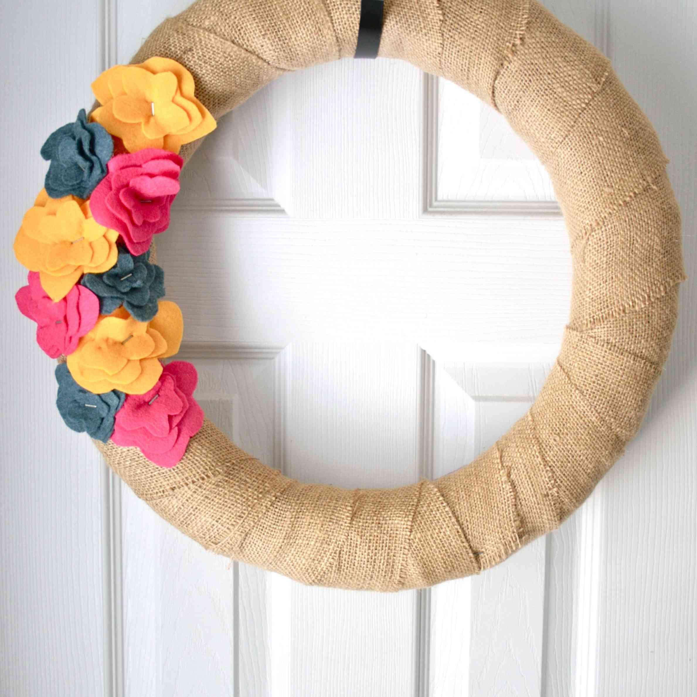 DIY Burlap Wrapped Flower Wreath