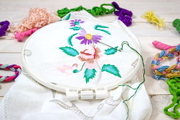 Embroidery Flowers. Folk embroidery. Sewing accessories. Canvas, hoop, thread mouline. Needlework.