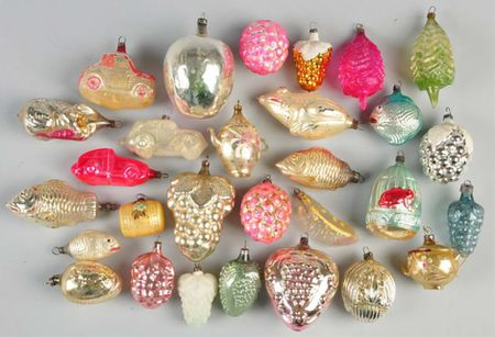 group of vintage glass christmas ornaments