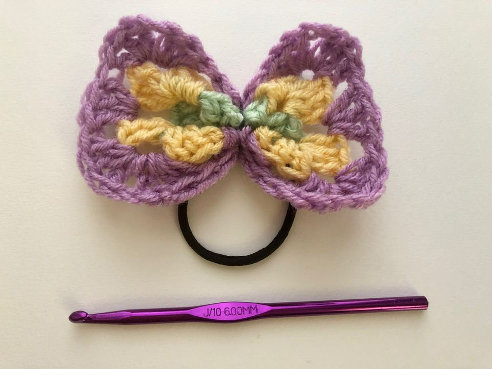 Granny Square Crochet Hair Bow