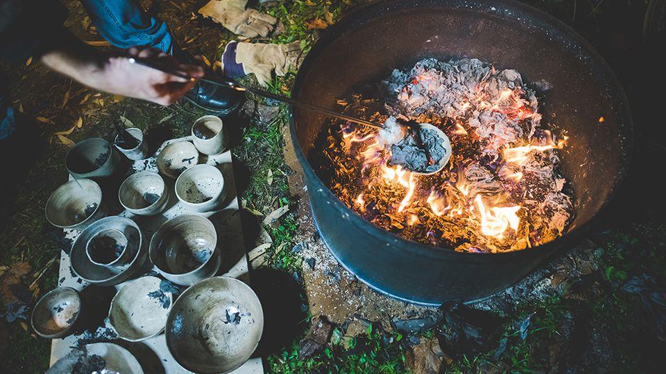 Pots being Raku fired