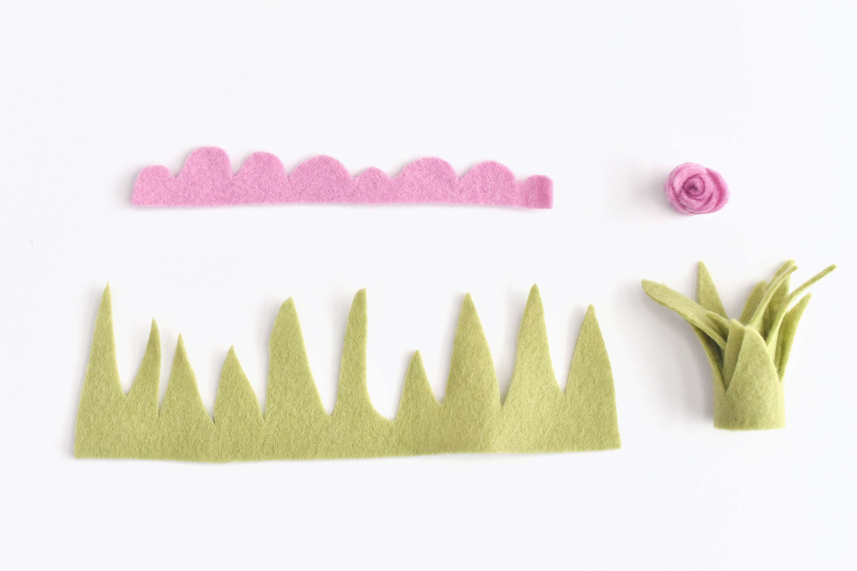Cut Felt and Roll it to Make Plants