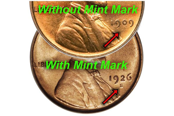 Lincoln Cent With and Without Mint Mark