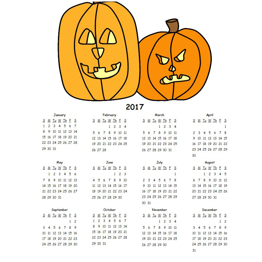 A printable calendar with jack o'lanterns at the top