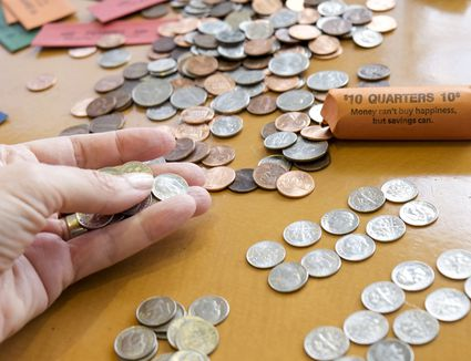 coins scattered on a table