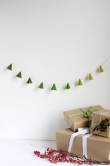 diy modern paper tree garland - Diy Christmas Garland