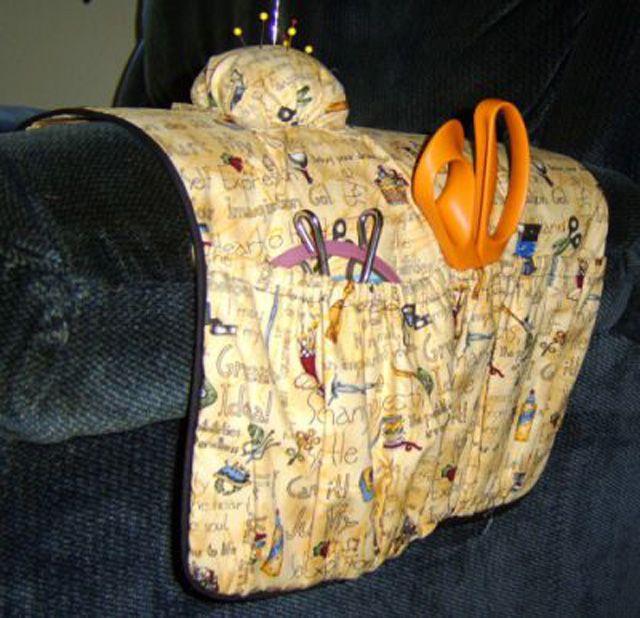 Arm chair sewing organizer