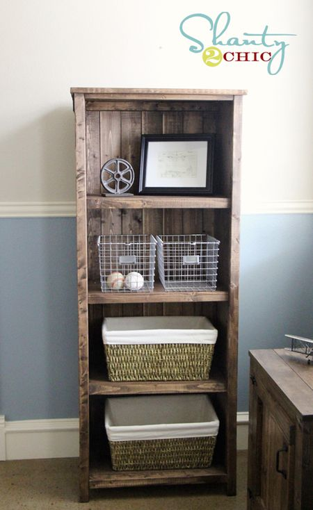 a four shelf rustic bookcase ana white - White Built In Bookshelves