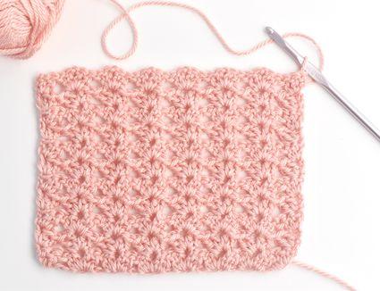 V Stitch Shell Stitch Swatch in Pink