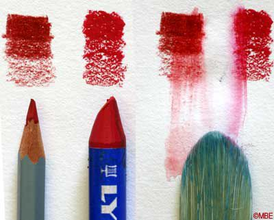 Painting with watersoluble crayons and pencils