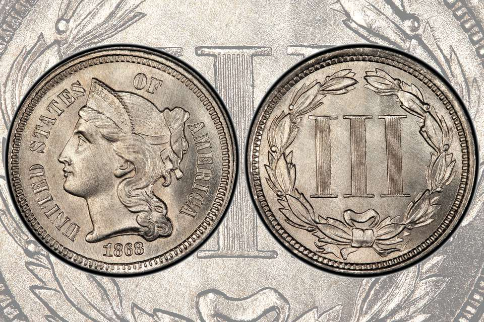 United States Of America Three-Cent Nickel Coin.