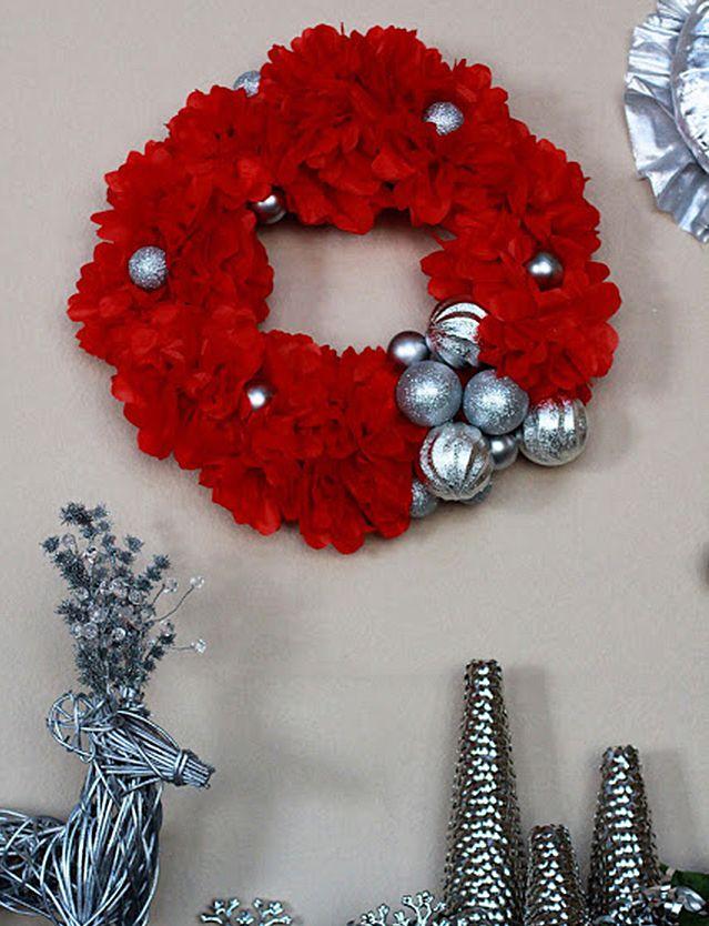 DIY Bright Red Holiday Wreath