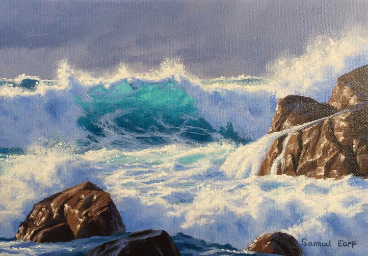 waves oil painting idea