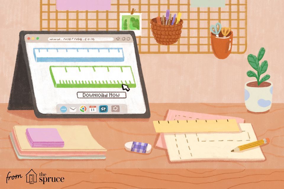 Illustration of desktop with different supplies