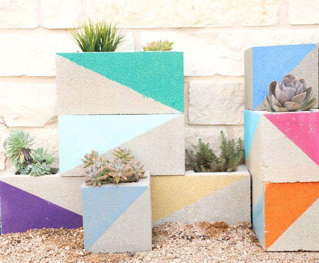 DIY Colorful Cinder Block Planters