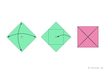 Origami Cube Gift Box Diagram