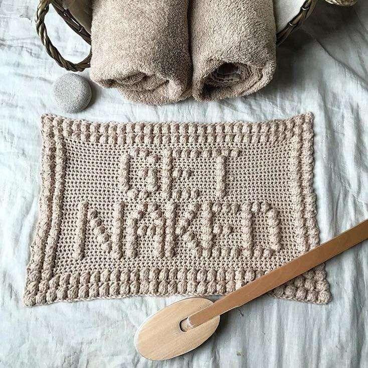 Get Naked Bobble Crochet Bath Mat With Bath Items