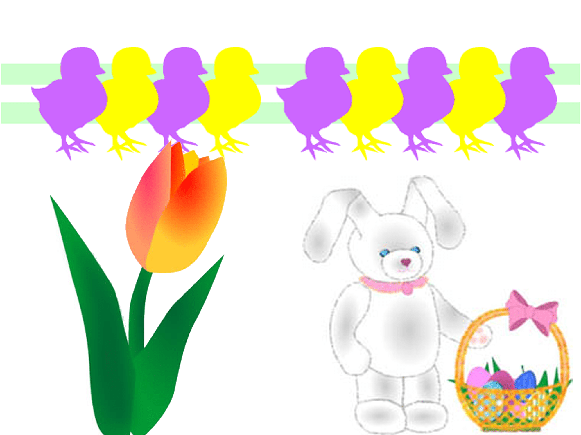 Easter clip art of chicks, a bunny, and a flower
