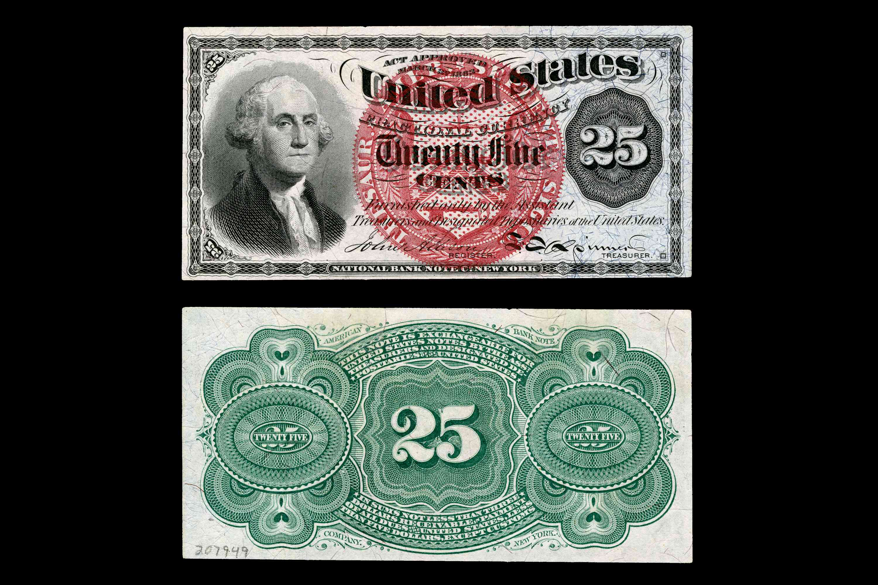 United States Fractional Currency Fourth Issue Twenty-Five Cent Note