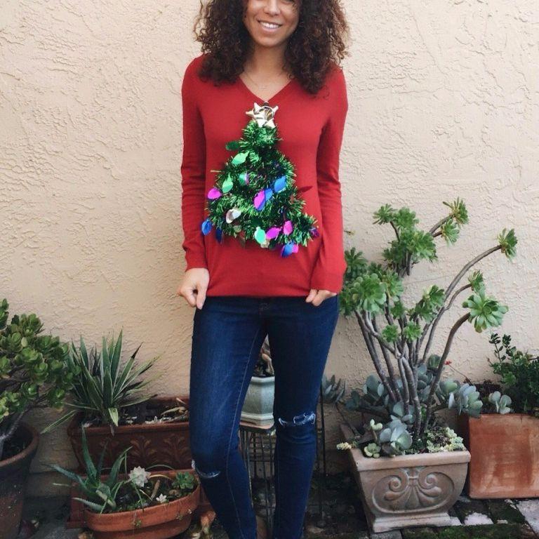 Metallic Christmas Tree Sweater