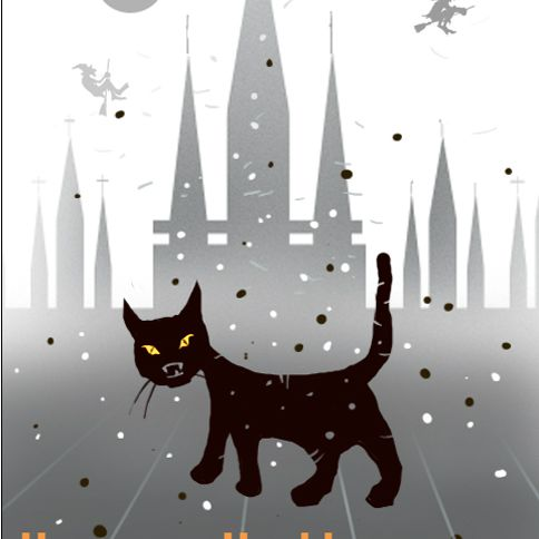 A Halloween card with a black cat on it.
