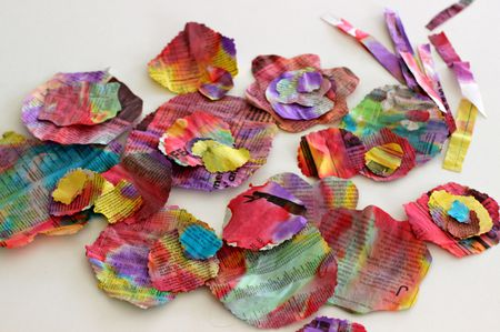 Recycled newspaper flower craft for kids second step for recycled newspaper flower craft mightylinksfo