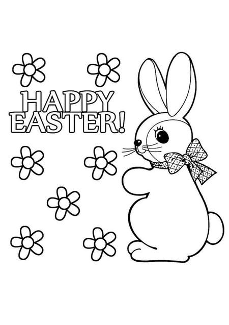 The Phrase Happy Easter With Flowers And An Bunny
