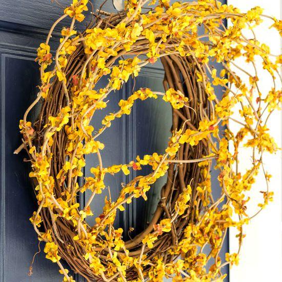 Golden yellow DIY fall wreath