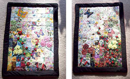 Two quilts featuring watercolor prints with butterflies.