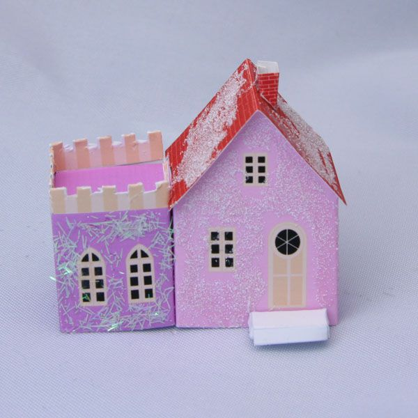 Printable Miniature Putz style N scale Christmas railroad cottage with glitter and coconut shreds.