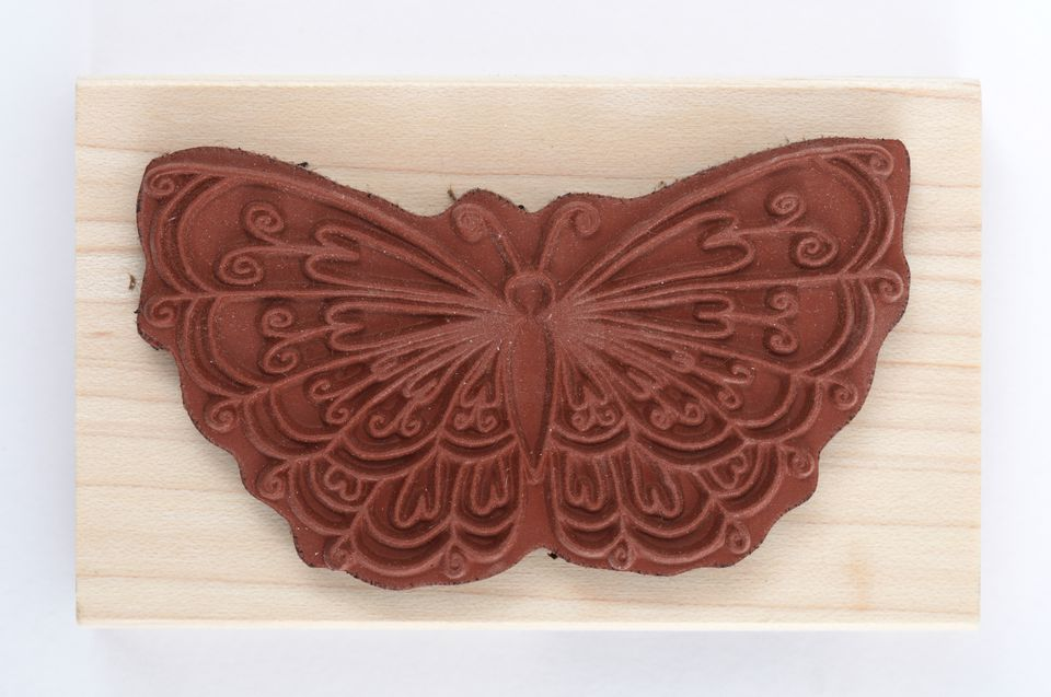 A butterfly rubber stamp