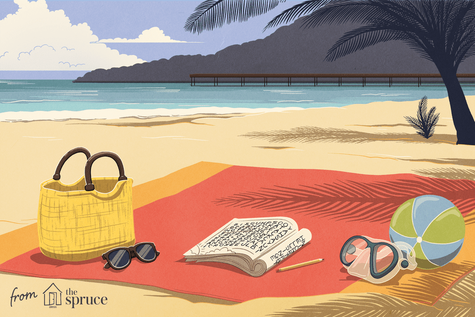 Illustration of a beach with a puzzle book