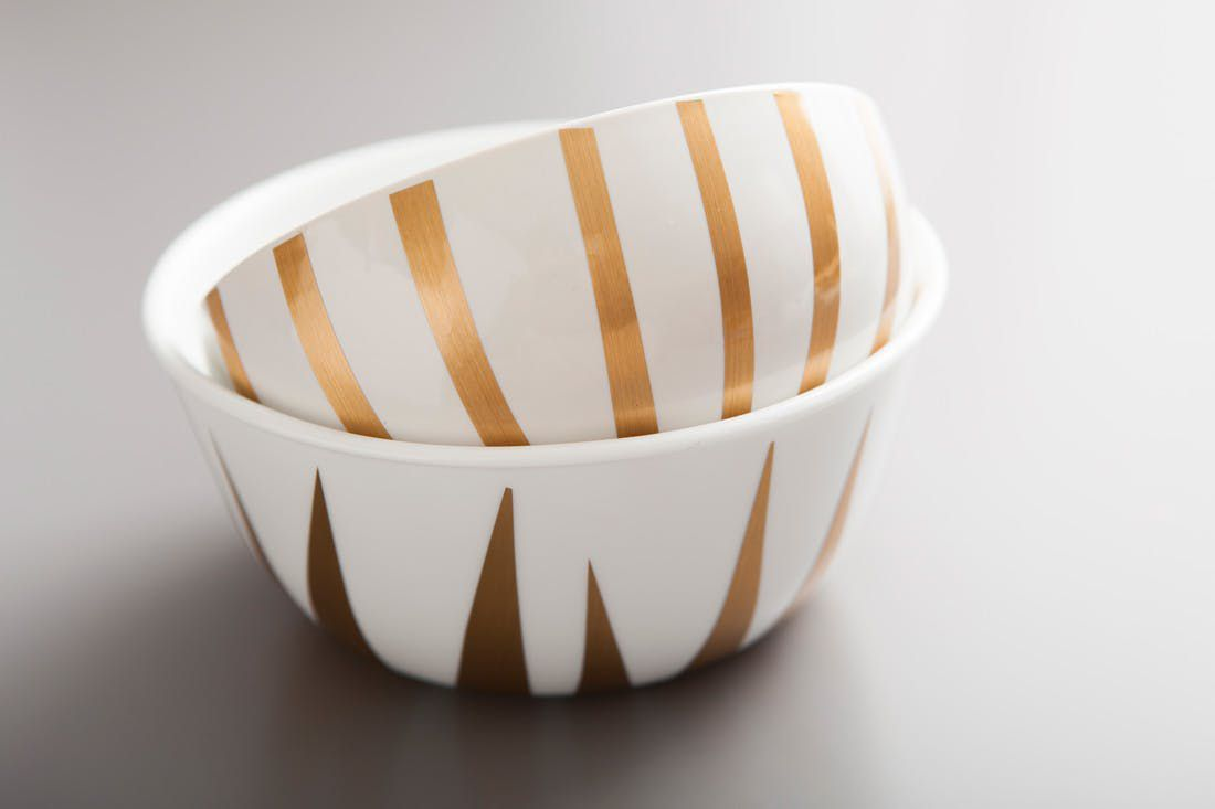 contact paper decorated dog bowls