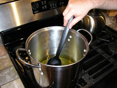 Heating the Oils in the Soap Pot