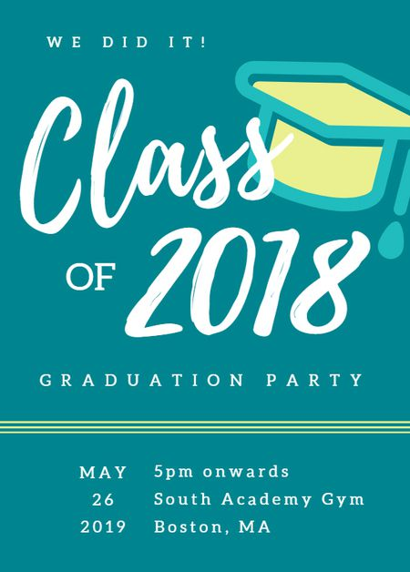 19 free printable graduation invitations templates a graduation invitation template in blue and yellow stopboris Choice Image