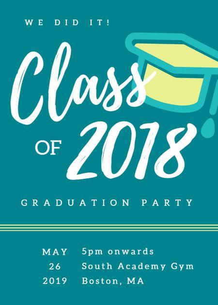19 free printable graduation invitations templates a graduation invitation template in blue and yellow stopboris Images