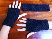 Matching Crocheted Headband and Fingerless Gloves.