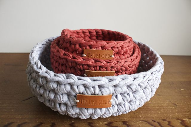 T-shirt Yarn Crochet Basket Free Pattern