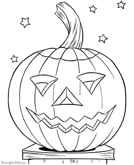 Halloween Pumpkin Coloring Pages At Raising Our Kids A Jack O Lantern On Starry Night