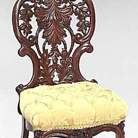 Victorian Rococo Revival slipper chair by John Henry Belter