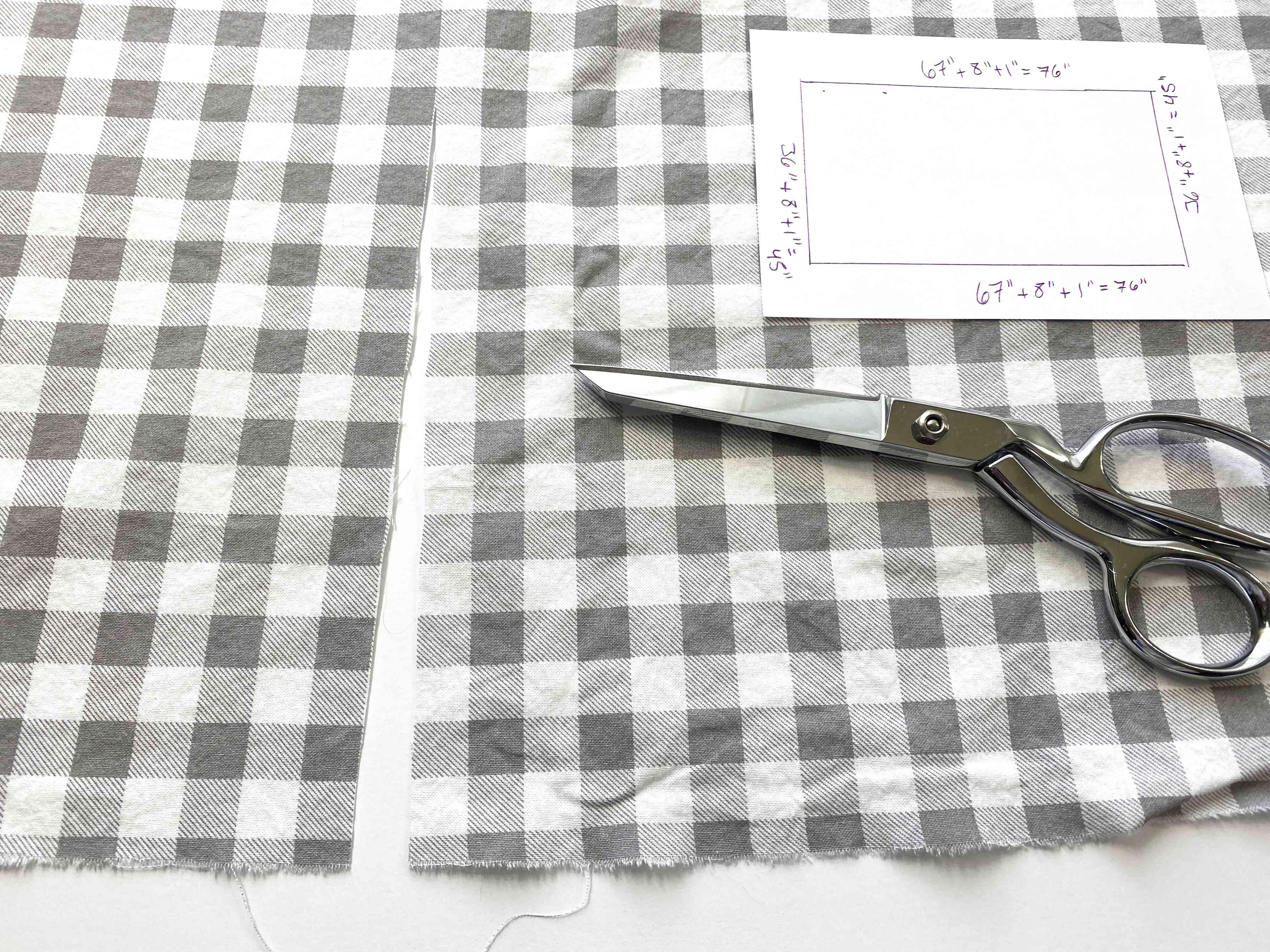 Fabric, scissors, and a diagram