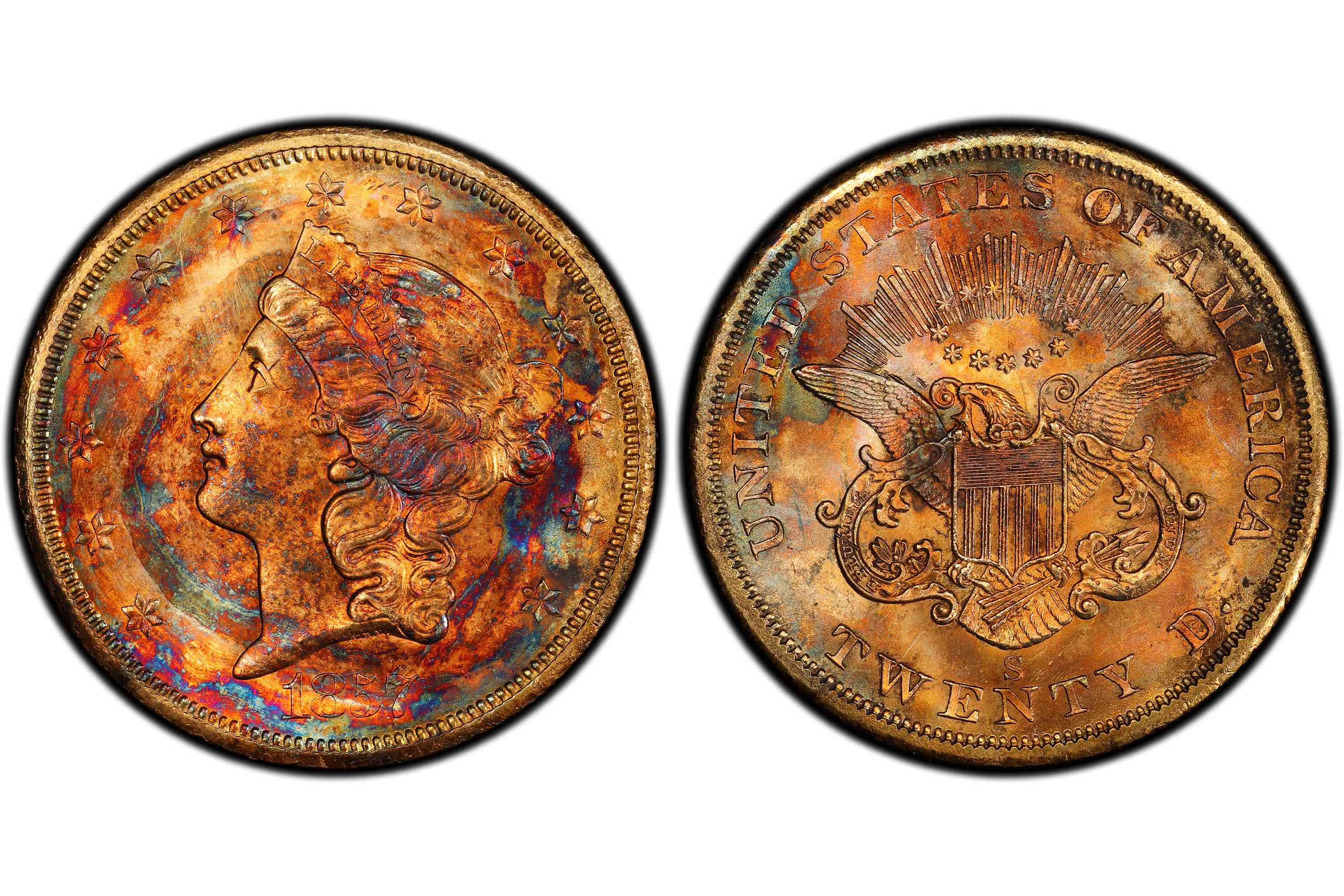 1857-S twenty dollar gold piece with brilliant colorful toning.
