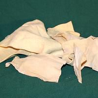 A pile of chamois scraps