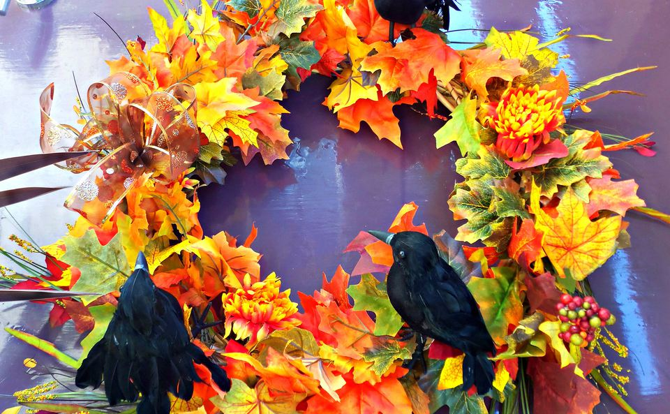fall wreath with crows