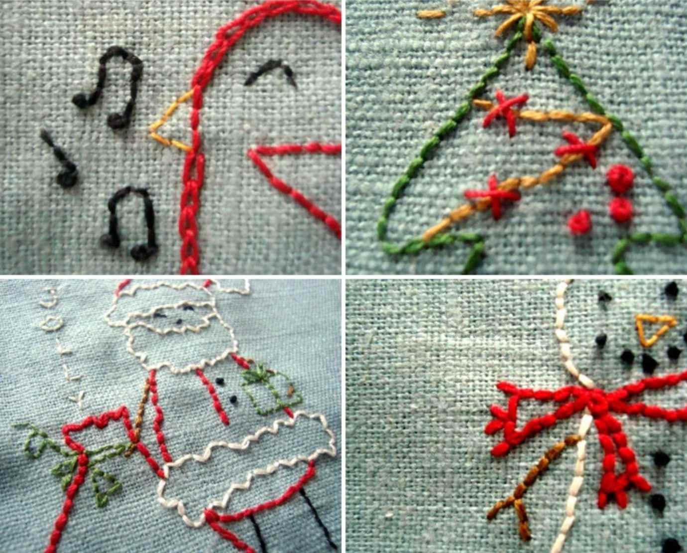Bird, Tree, Santa, and Snowman Christmas embroidery on grayish blue fabric.