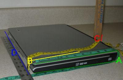 laptop being measured