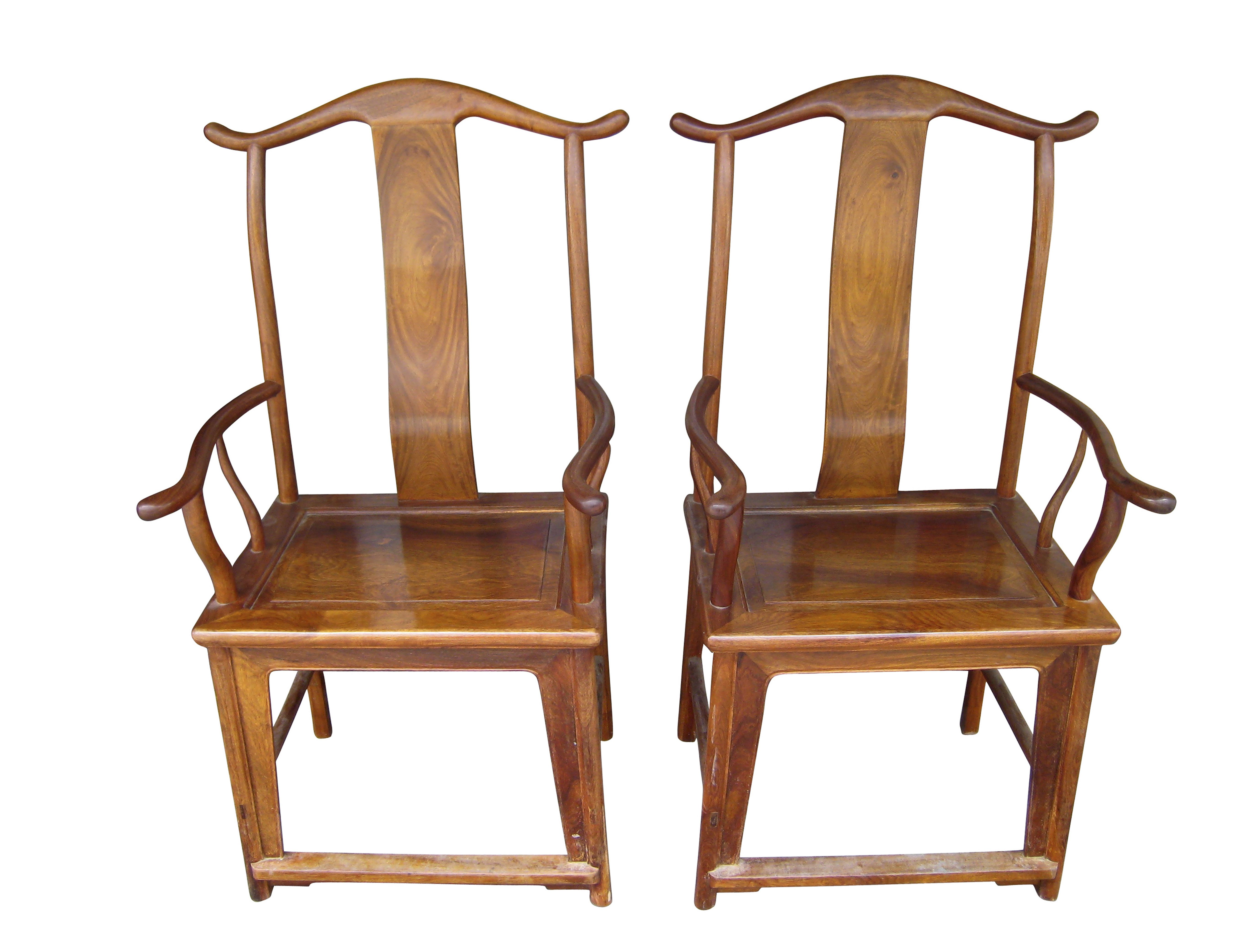 close-up of Chinese yoke-back traditional armed chairs